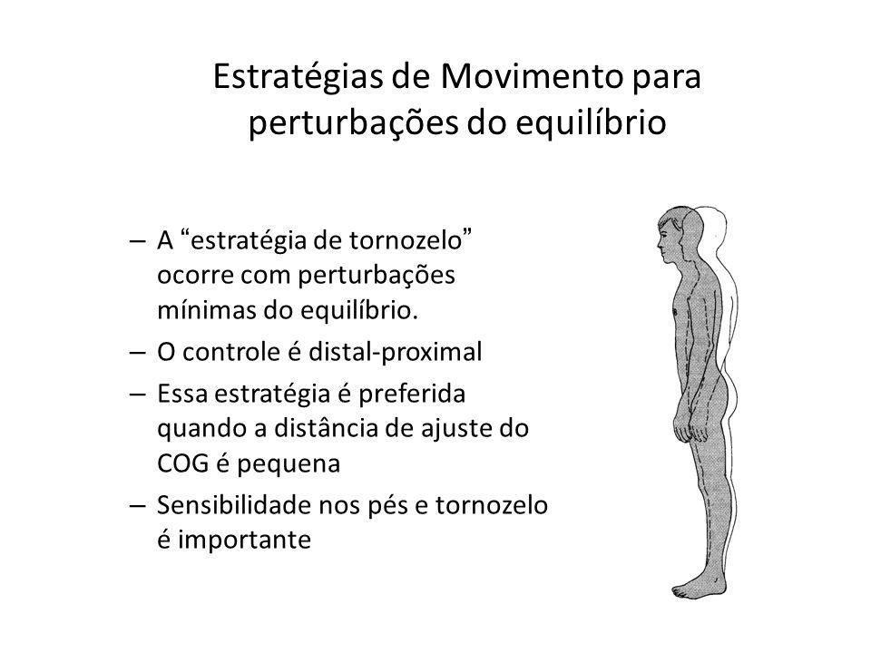 Estratégias de Movimento para perturbações do equilíbrio – A estratégia de tornozelo ocorre com perturbações mínimas do equilíbrio. – O controle é dis