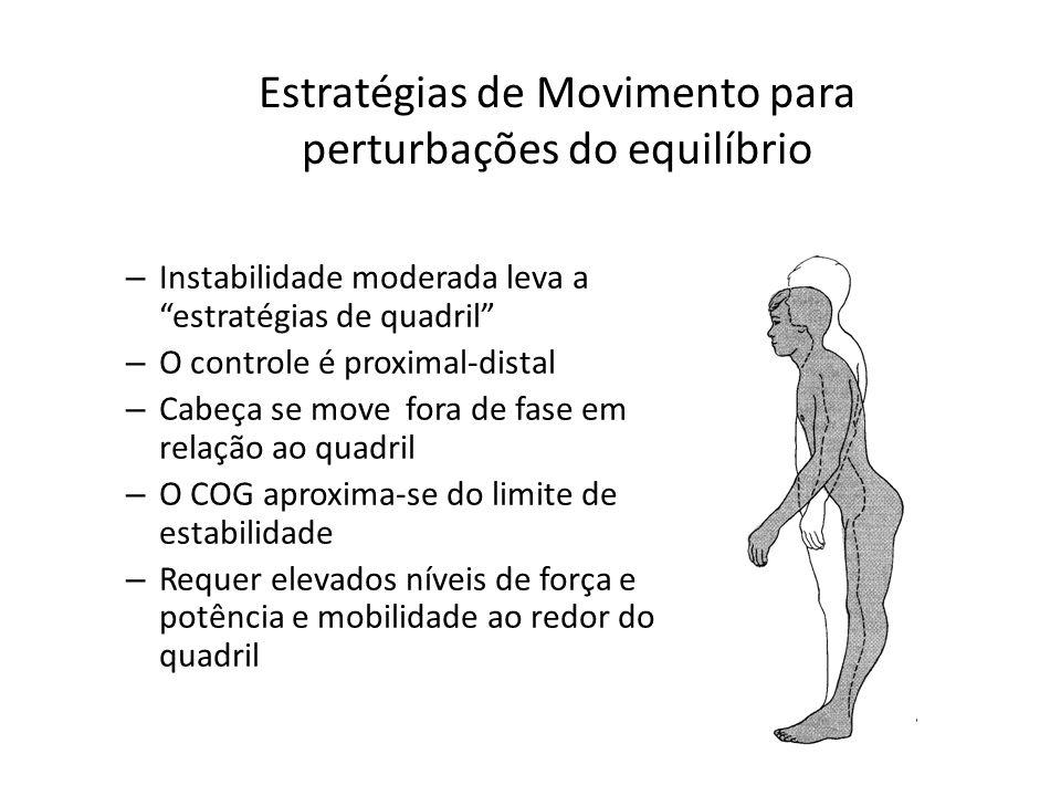 – Instabilidade moderada leva a estratégias de quadril – O controle é proximal-distal – Cabeça se move fora de fase em relação ao quadril – O COG apro