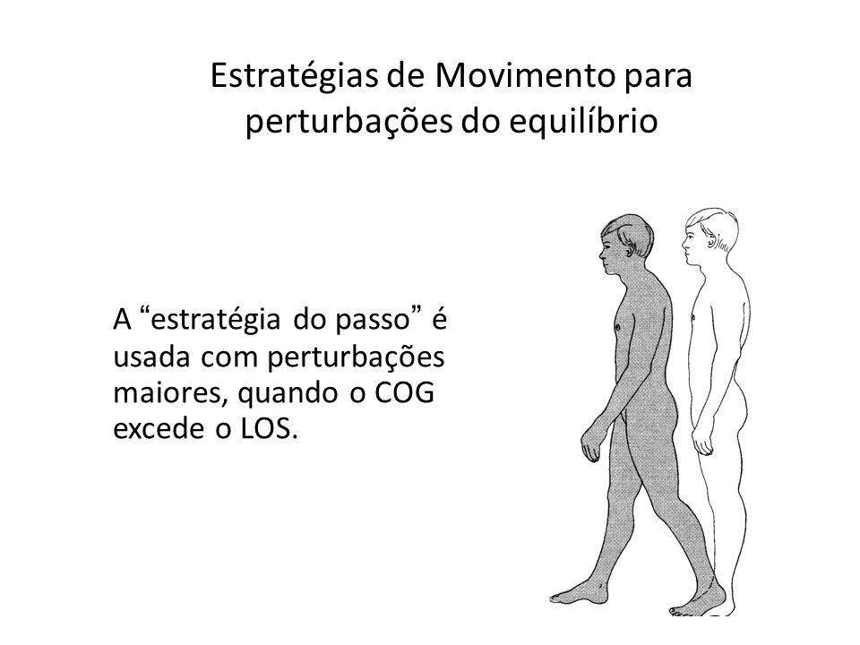 A estratégia do passo é usada com perturbações maiores, quando o COG excede o LOS. Estratégias de Movimento para perturbações do equilíbrio