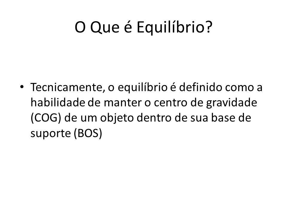 O Que é Equilíbrio? Tecnicamente, o equilíbrio é definido como a habilidade de manter o centro de gravidade (COG) de um objeto dentro de sua base de s