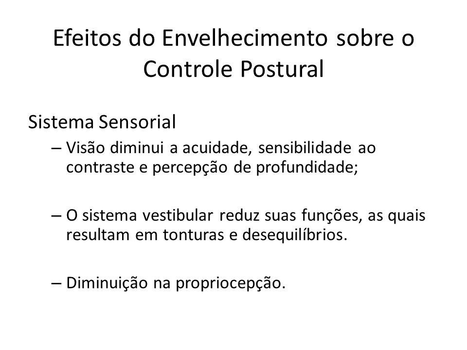 Efeitos do Envelhecimento sobre o Controle Postural Sistema Sensorial – Visão diminui a acuidade, sensibilidade ao contraste e percepção de profundida