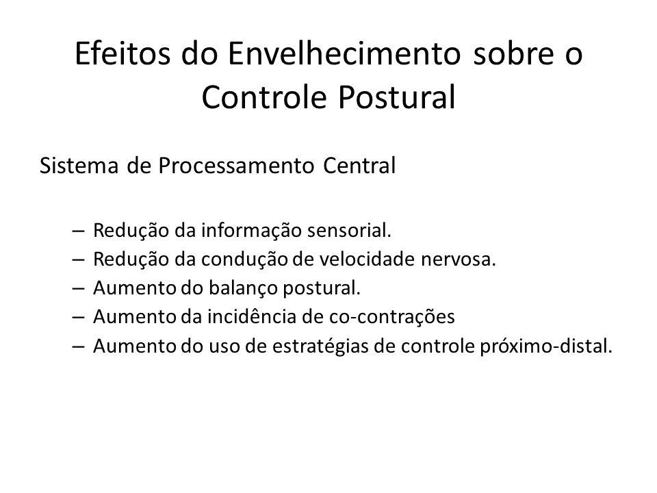 Sistema de Processamento Central – Redução da informação sensorial. – Redução da condução de velocidade nervosa. – Aumento do balanço postural. – Aume