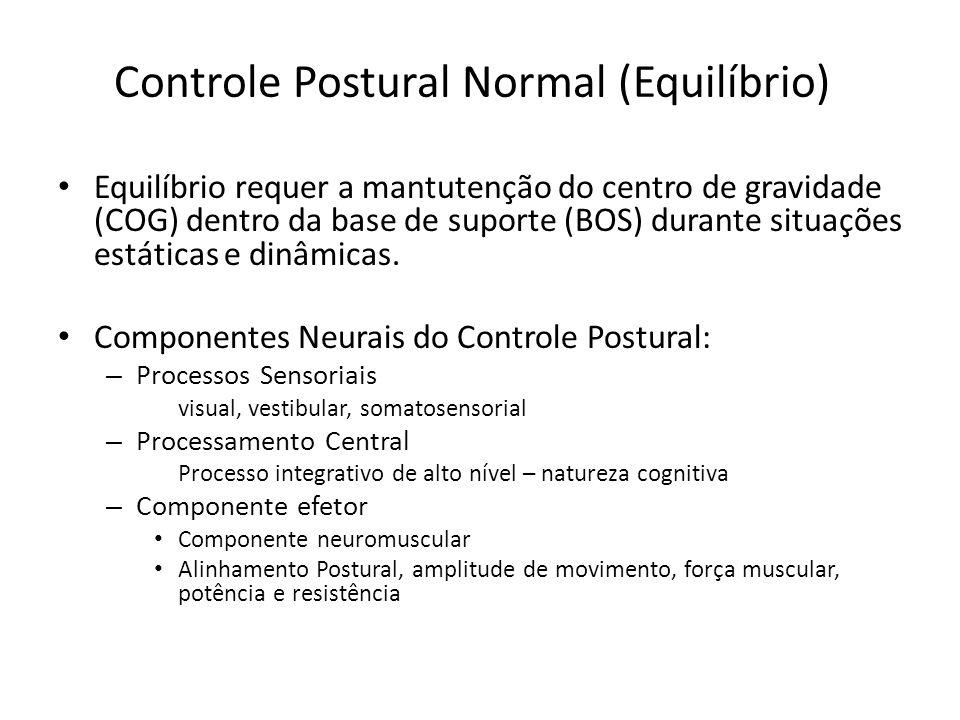 Controle Postural Normal (Equilíbrio) Equilíbrio requer a mantutenção do centro de gravidade (COG) dentro da base de suporte (BOS) durante situações e