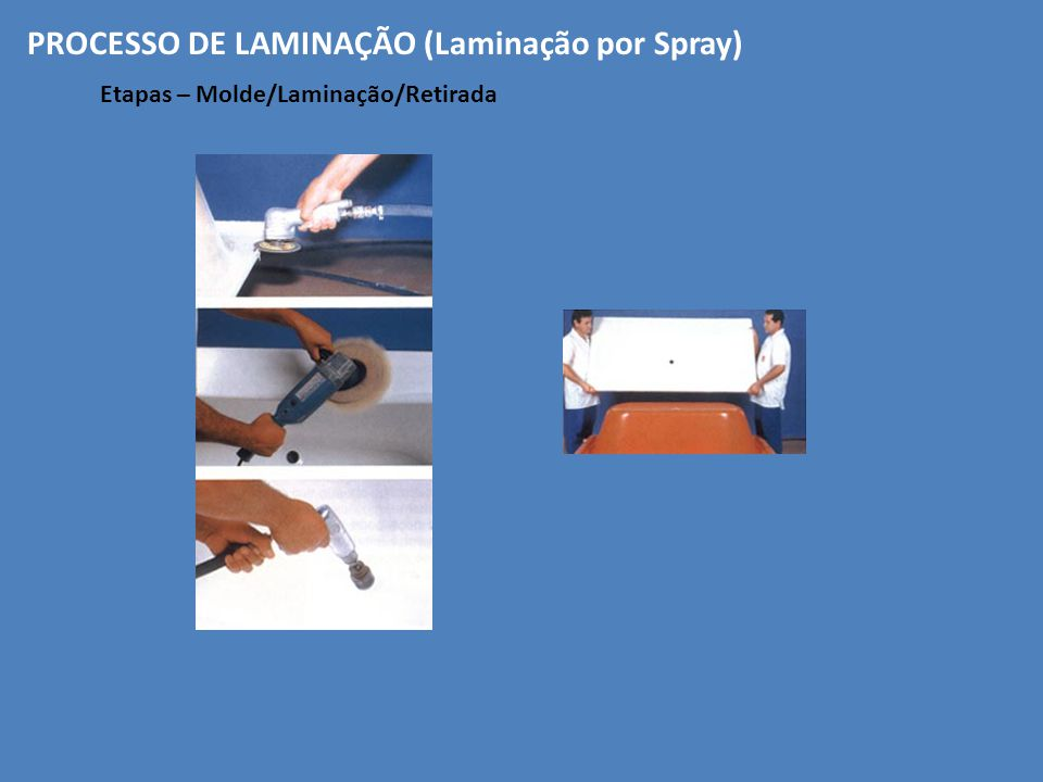 Etapas – Molde/Laminação/Retirada PROCESSO DE LAMINAÇÃO (Laminação por Spray)