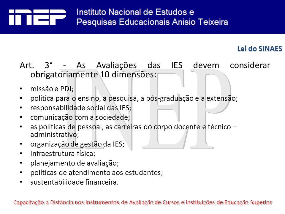 Art. 3° - As Avaliações das IES devem considerar obrigatoriamente 10 dimensões: missão e PDI; política para o ensino, a pesquisa, a pós-graduação e a
