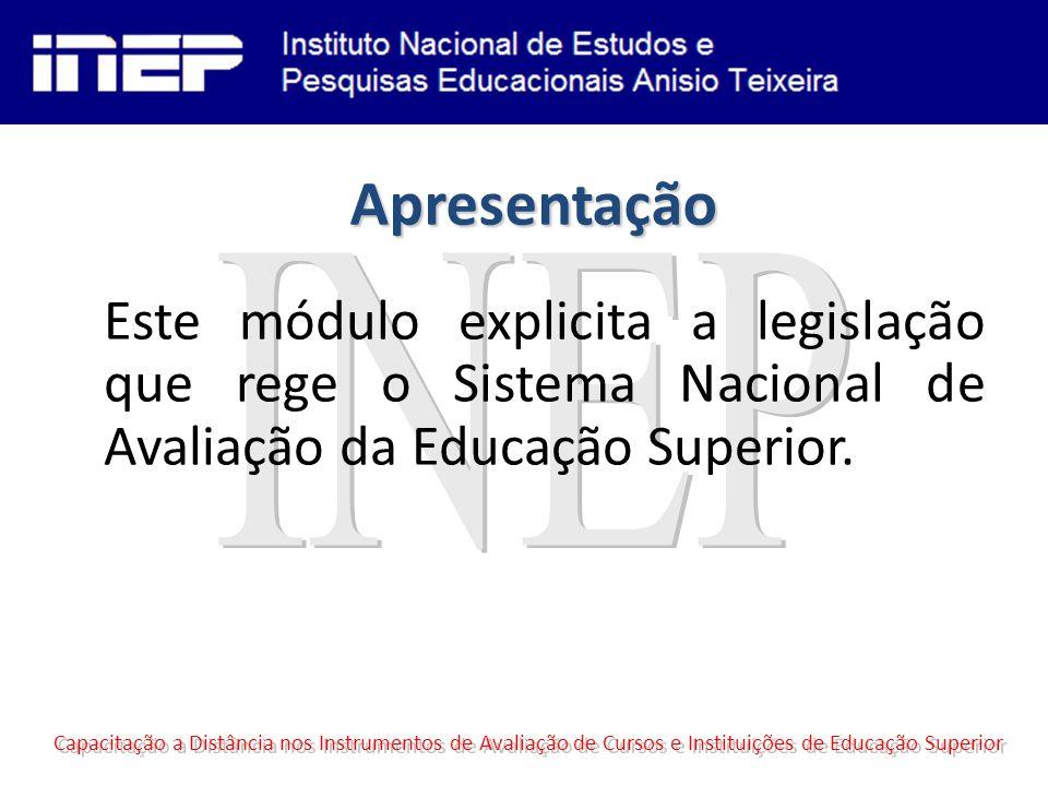 Lei do SINAES Lei número 10.861, de 14 de abril de 2004; Institui o SISTEMA NACIONAL DE AVALIAÇÃO DA EDUCAÇÃO SUPERIOR SINAES e dá outras providências; O SINAES dá um caráter sistêmico à avaliação, associa à QUALIDADE e à Regulação; Capacitação a Distância nos Instrumentos de Avaliação de Cursos e Instituições de Educação Superior