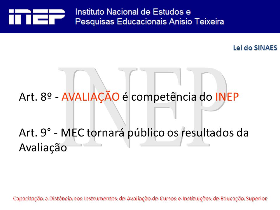 Art.8º - AVALIAÇÃO é competência do INEP Art.