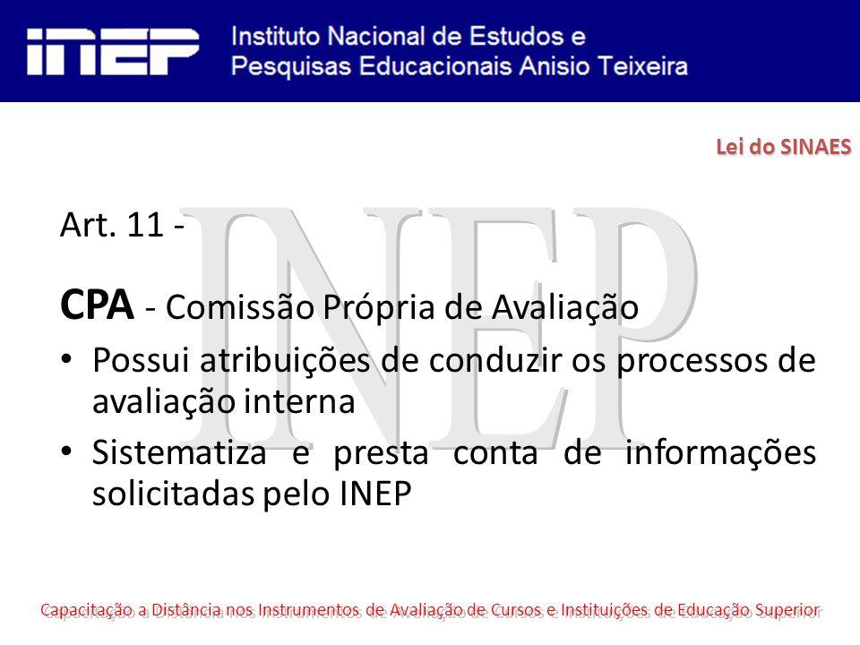 Art. 11 - CPA - Comissão Própria de Avaliação Possui atribuições de conduzir os processos de avaliação interna Sistematiza e presta conta de informaçõ
