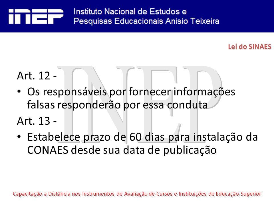 Art.12 - Os responsáveis por fornecer informações falsas responderão por essa conduta Art.
