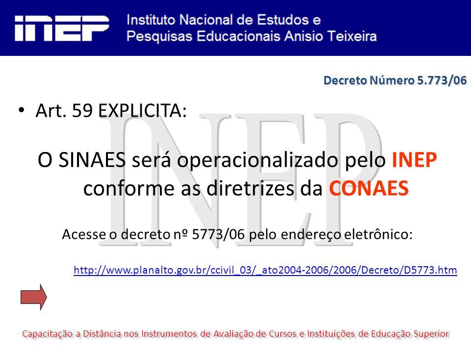 Art. 59 EXPLICITA: O SINAES será operacionalizado pelo INEP conforme as diretrizes da CONAES Acesse o decreto nº 5773/06 pelo endereço eletrônico: htt