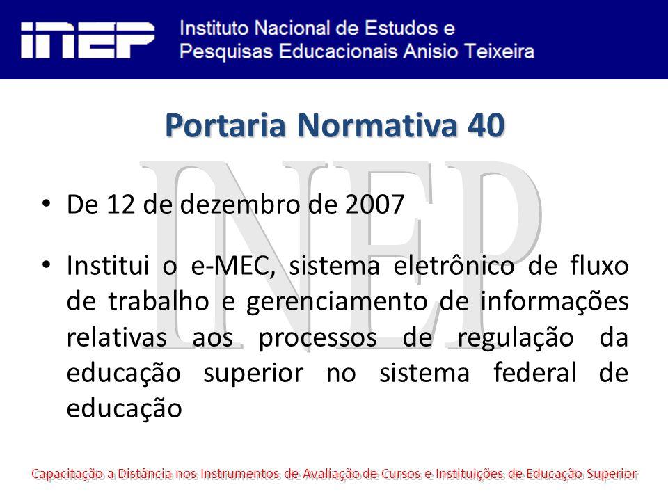 Portaria Normativa 40 De 12 de dezembro de 2007 Institui o e-MEC, sistema eletrônico de fluxo de trabalho e gerenciamento de informações relativas aos processos de regulação da educação superior no sistema federal de educação Capacitação a Distância nos Instrumentos de Avaliação de Cursos e Instituições de Educação Superior