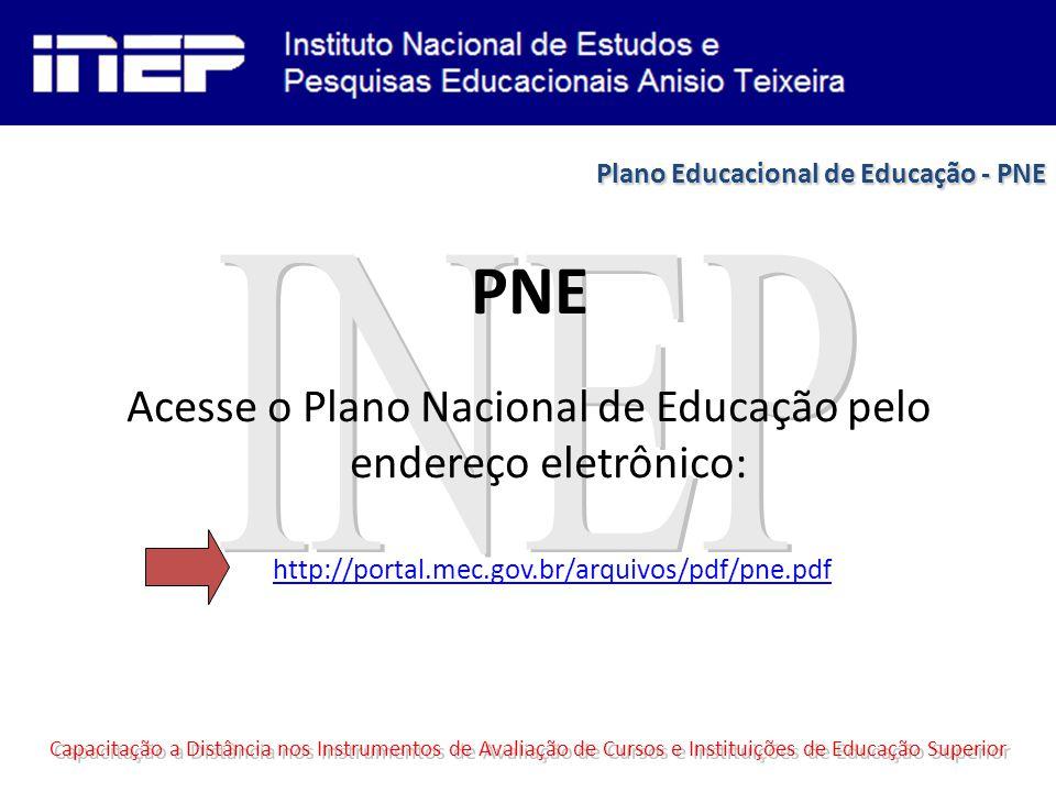 PNE Acesse o Plano Nacional de Educação pelo endereço eletrônico: Capacitação a Distância nos Instrumentos de Avaliação de Cursos e Instituições de Educação Superior http://portal.mec.gov.br/arquivos/pdf/pne.pdf Plano Educacional de Educação - PNE