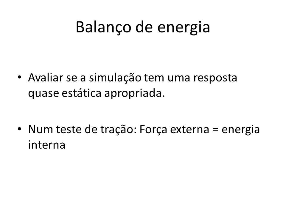 Balanço de energia Avaliar se a simulação tem uma resposta quase estática apropriada.