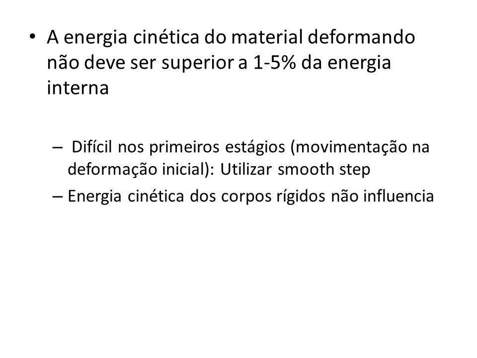 A energia cinética do material deformando não deve ser superior a 1-5% da energia interna – Difícil nos primeiros estágios (movimentação na deformação inicial): Utilizar smooth step – Energia cinética dos corpos rígidos não influencia