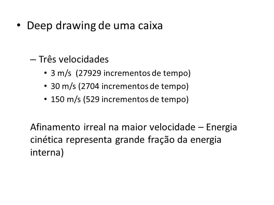 Deep drawing de uma caixa – Três velocidades 3 m/s (27929 incrementos de tempo) 30 m/s (2704 incrementos de tempo) 150 m/s (529 incrementos de tempo) Afinamento irreal na maior velocidade – Energia cinética representa grande fração da energia interna)