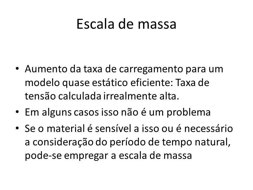 Escala de massa Aumento da taxa de carregamento para um modelo quase estático eficiente: Taxa de tensão calculada irrealmente alta.