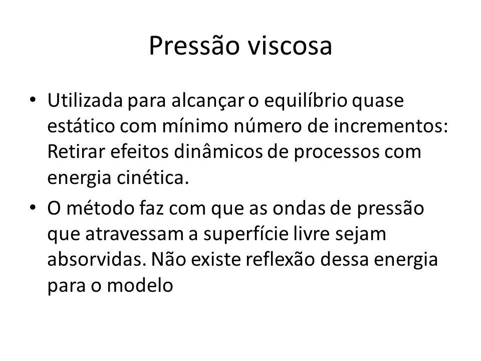 Pressão viscosa Utilizada para alcançar o equilíbrio quase estático com mínimo número de incrementos: Retirar efeitos dinâmicos de processos com energia cinética.