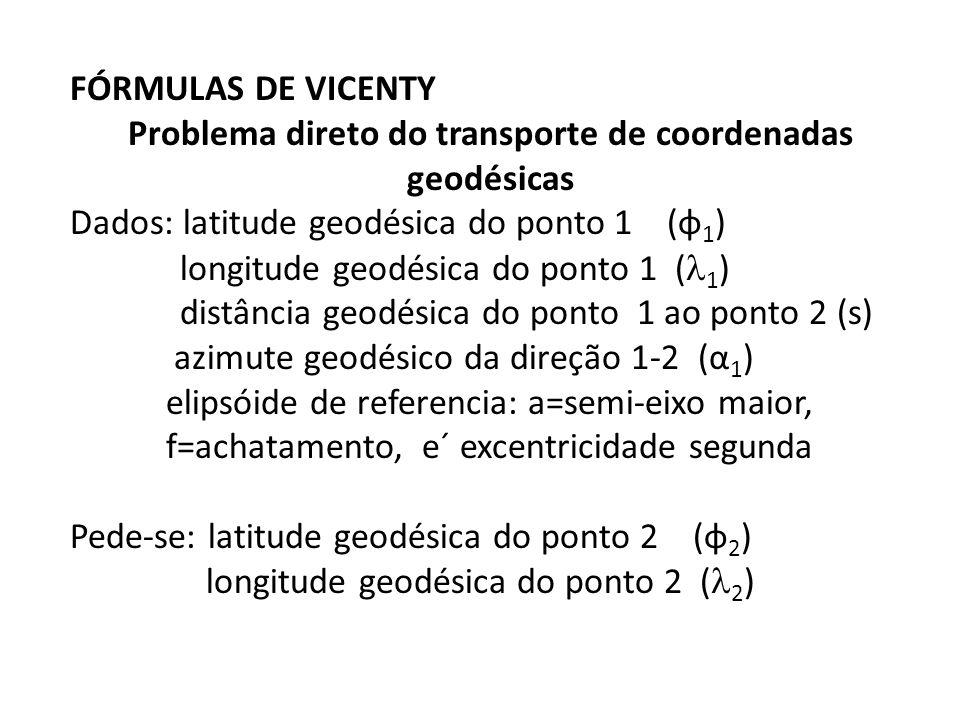 FÓRMULAS DE VICENTY Problema direto do transporte de coordenadas geodésicas Dados: latitude geodésica do ponto 1 (φ 1 ) longitude geodésica do ponto 1