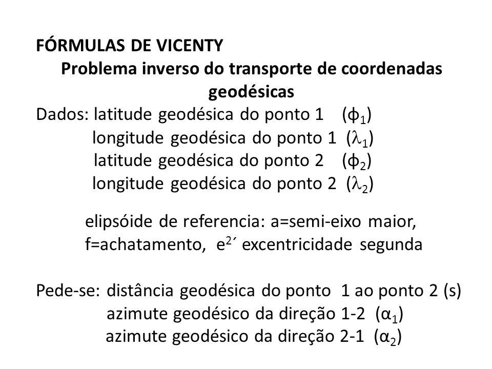 FÓRMULAS DE VICENTY Problema inverso do transporte de coordenadas geodésicas Dados: latitude geodésica do ponto 1 (φ 1 ) longitude geodésica do ponto