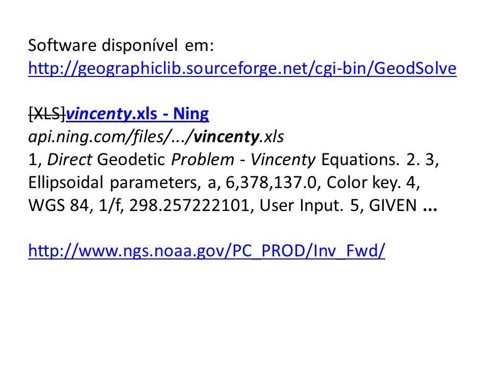 Software disponível em: http://geographiclib.sourceforge.net/cgi-bin/GeodSolve [XLS]vincenty.xls - Ningvincenty.xls - Ning api.ning.com/files/.../vinc