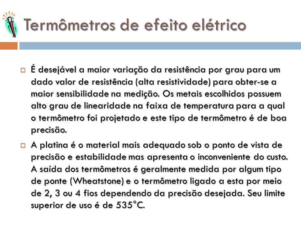 Termômetros de efeito elétrico É desejável a maior variação da resistência por grau para um dado valor de resistência (alta resistividade) para obter-