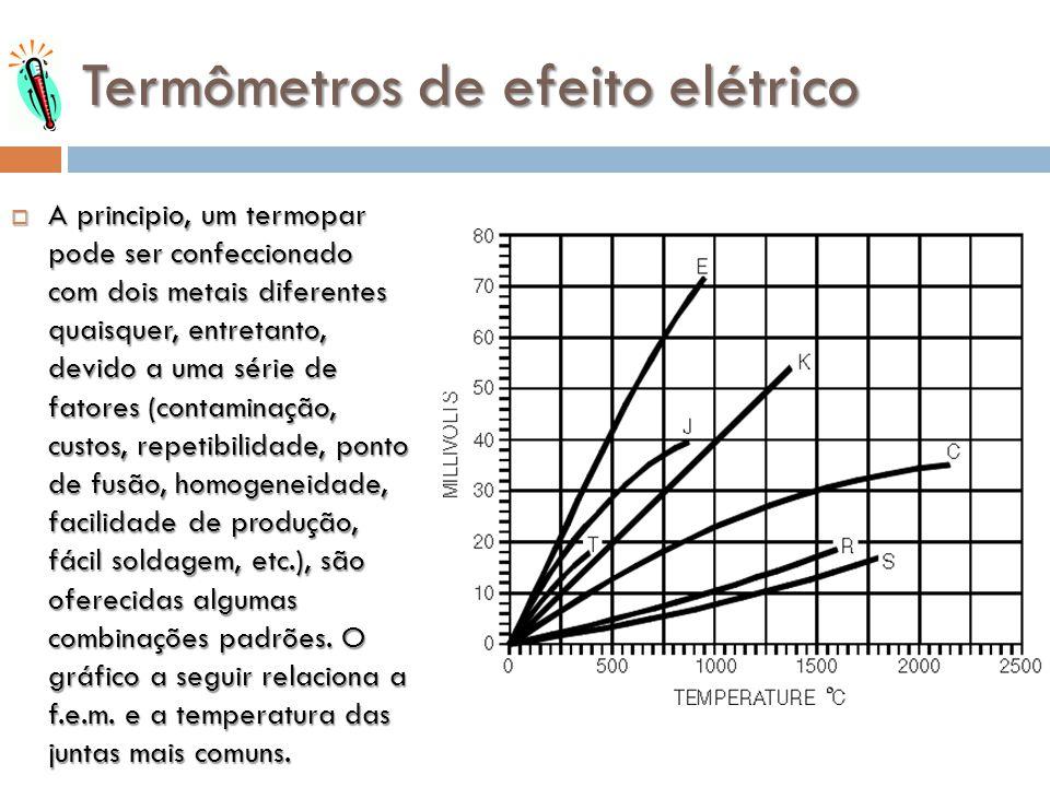 Termômetros de efeito elétrico A principio, um termopar pode ser confeccionado com dois metais diferentes quaisquer, entretanto, devido a uma série de