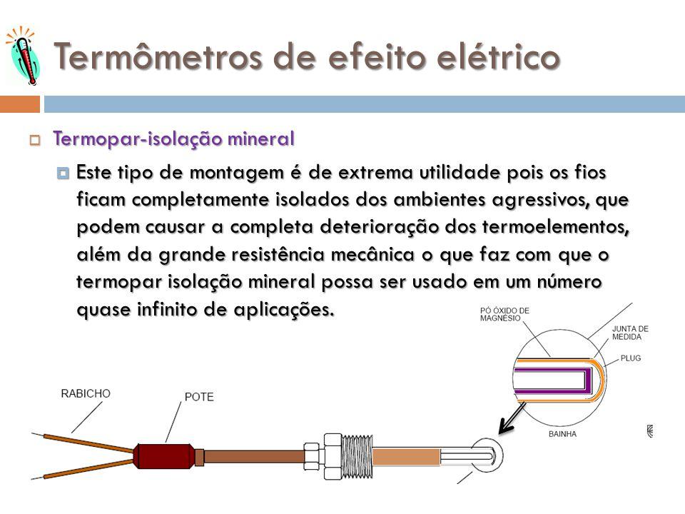 Termômetros de efeito elétrico Termopar-isolação mineral Termopar-isolação mineral Este tipo de montagem é de extrema utilidade pois os fios ficam com