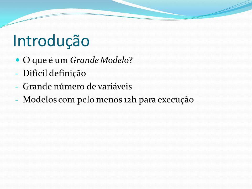 Introdução O que é um Grande Modelo? - Difícil definição - Grande número de variáveis - Modelos com pelo menos 12h para execução