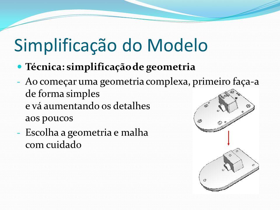 Simplificação do Modelo Técnica: simplificação de geometria - Ao começar uma geometria complexa, primeiro faça-a de forma simples e vá aumentando os d