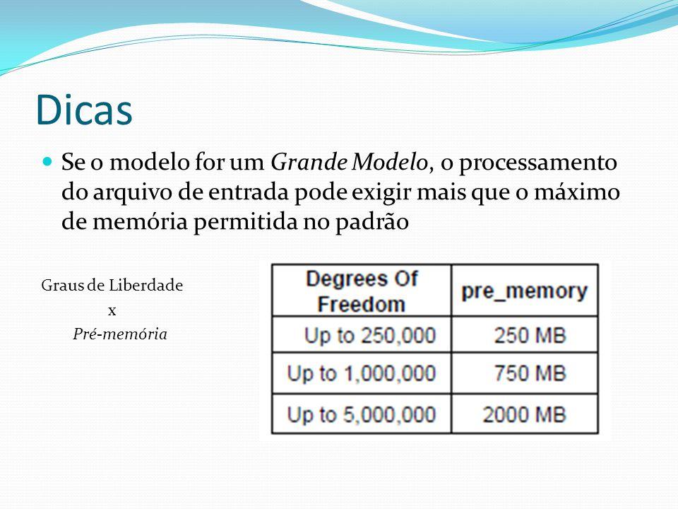 Dicas Se o modelo for um Grande Modelo, o processamento do arquivo de entrada pode exigir mais que o máximo de memória permitida no padrão Graus de Li