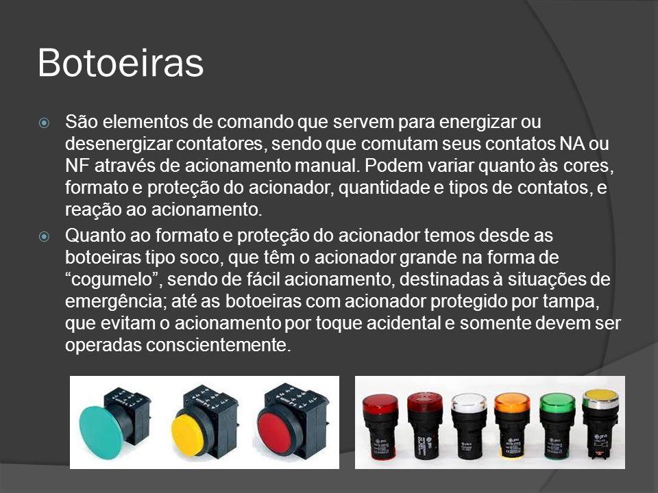 Botoeiras São elementos de comando que servem para energizar ou desenergizar contatores, sendo que comutam seus contatos NA ou NF através de acionamento manual.