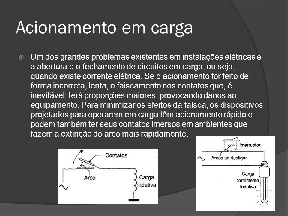 Acionamento em carga Um dos grandes problemas existentes em instalações elétricas é a abertura e o fechamento de circuitos em carga, ou seja, quando existe corrente elétrica.