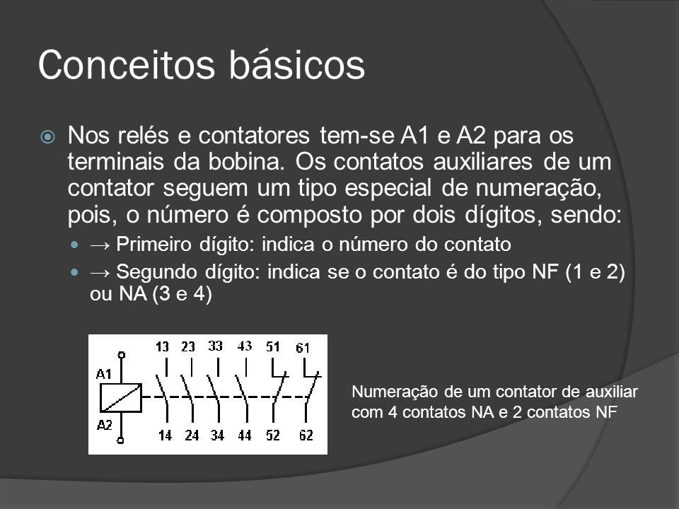 Conceitos básicos Nos relés e contatores tem-se A1 e A2 para os terminais da bobina.