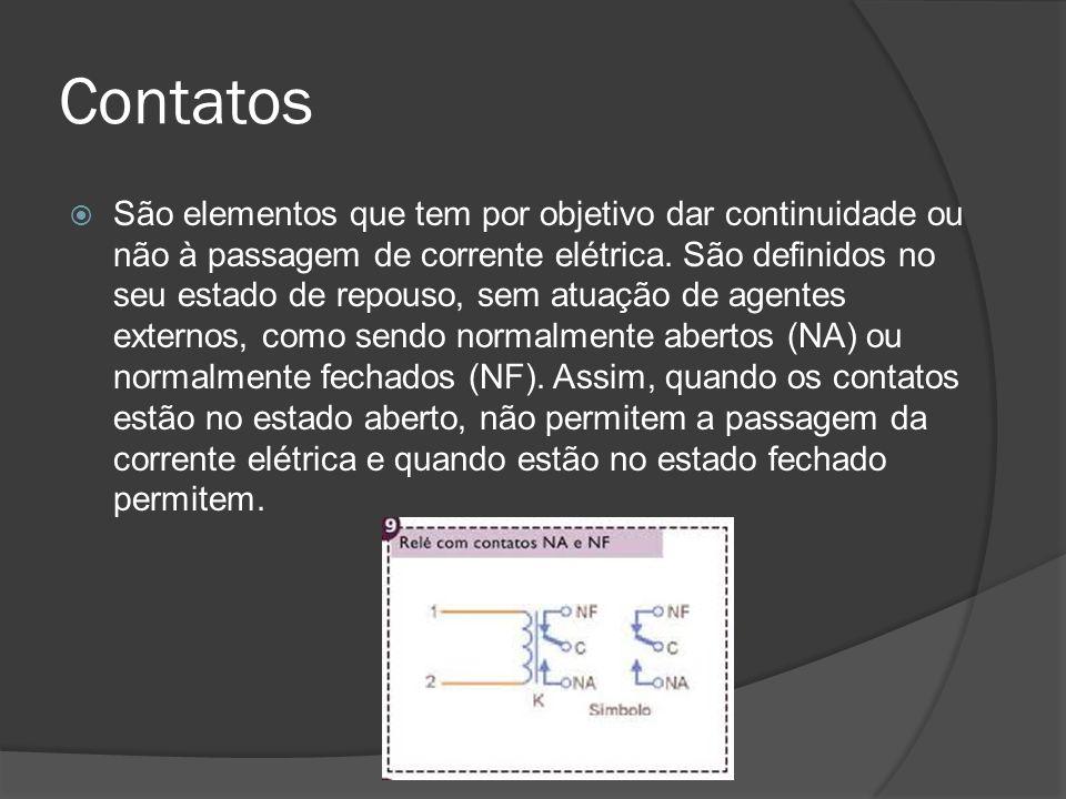 Contatos São elementos que tem por objetivo dar continuidade ou não à passagem de corrente elétrica.