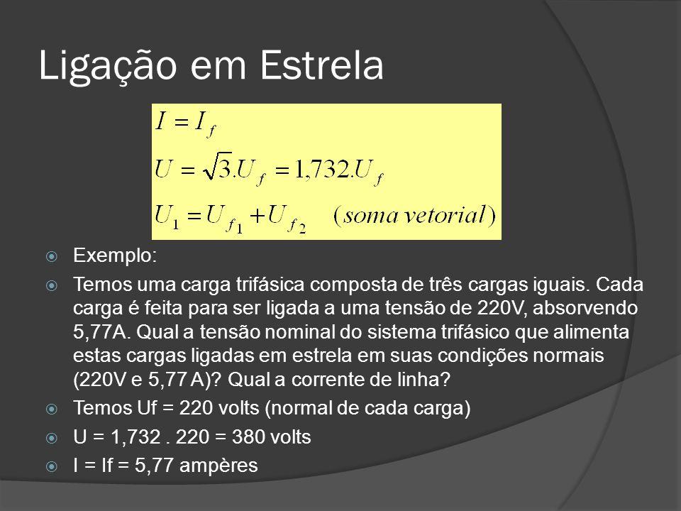 Ligação em Estrela Exemplo: Temos uma carga trifásica composta de três cargas iguais.