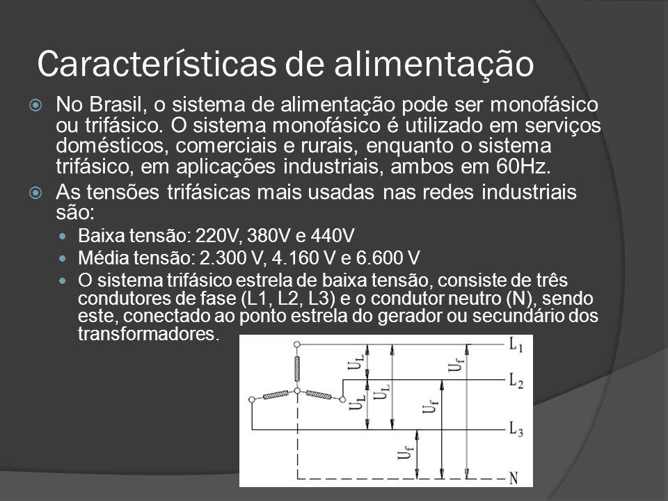 Características de alimentação No Brasil, o sistema de alimentação pode ser monofásico ou trifásico.