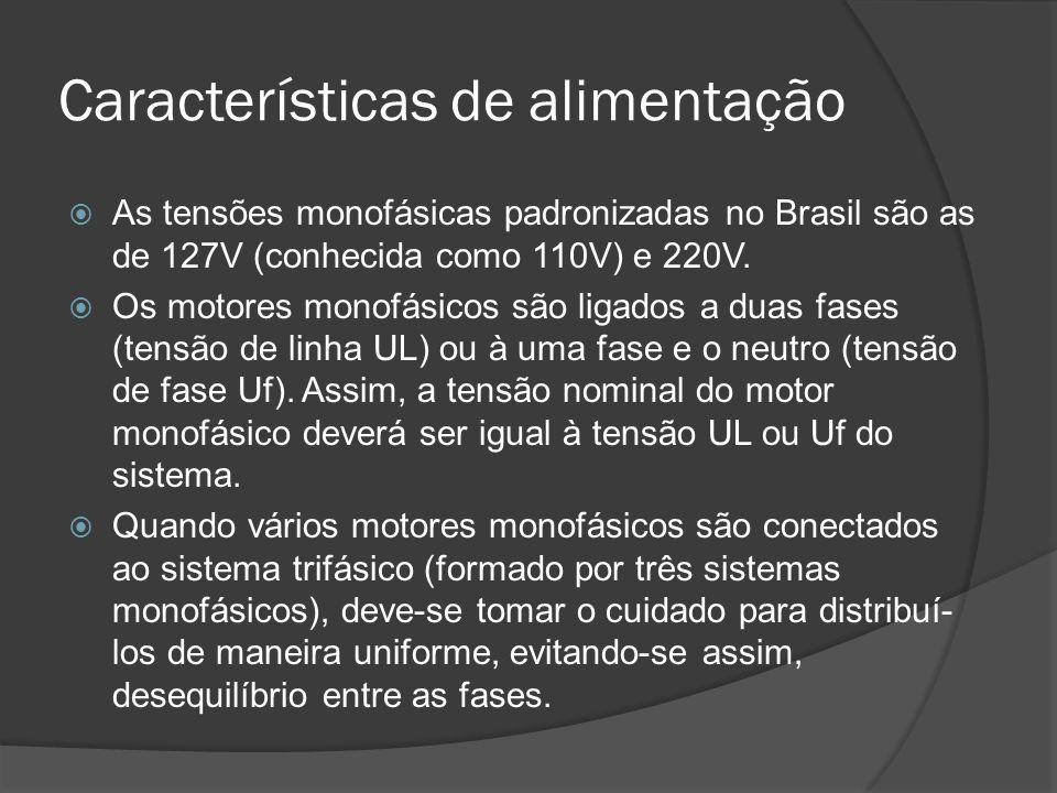 Características de alimentação As tensões monofásicas padronizadas no Brasil são as de 127V (conhecida como 110V) e 220V.