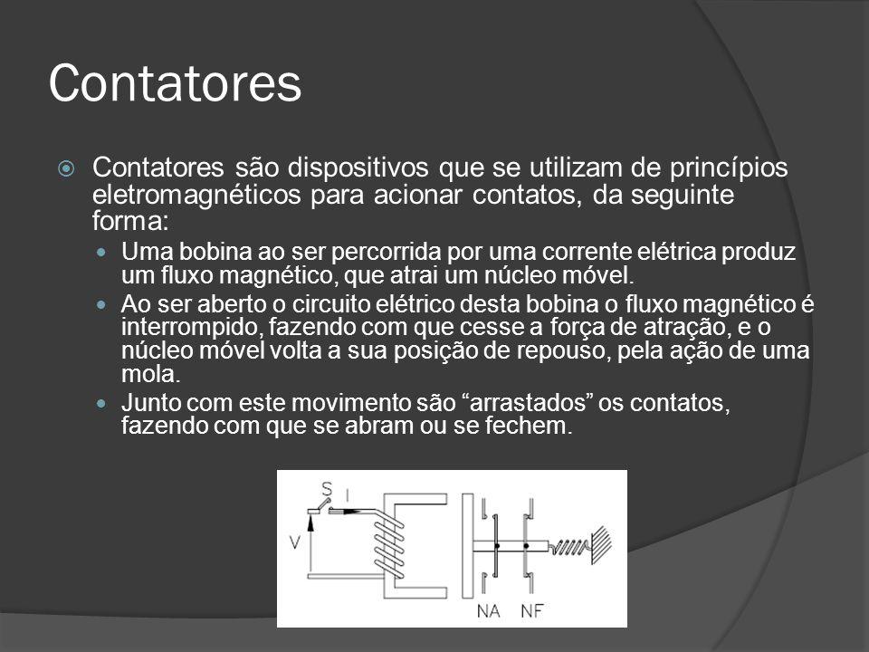 Contatores Contatores são dispositivos que se utilizam de princípios eletromagnéticos para acionar contatos, da seguinte forma: Uma bobina ao ser percorrida por uma corrente elétrica produz um fluxo magnético, que atrai um núcleo móvel.