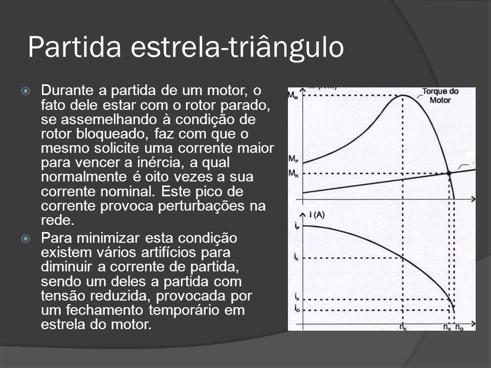 Partida estrela-triângulo Durante a partida de um motor, o fato dele estar com o rotor parado, se assemelhando à condição de rotor bloqueado, faz com que o mesmo solicite uma corrente maior para vencer a inércia, a qual normalmente é oito vezes a sua corrente nominal.
