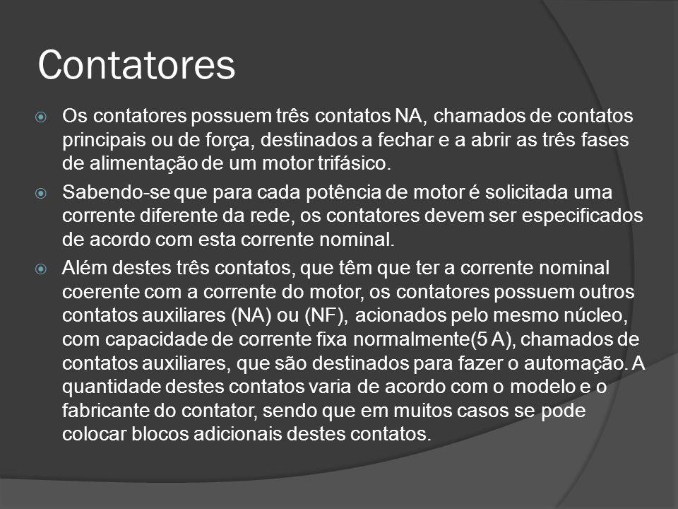 Contatores Os contatores possuem três contatos NA, chamados de contatos principais ou de força, destinados a fechar e a abrir as três fases de alimentação de um motor trifásico.