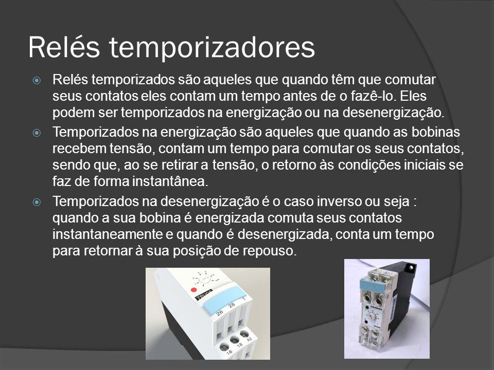 Relés temporizadores Relés temporizados são aqueles que quando têm que comutar seus contatos eles contam um tempo antes de o fazê-lo.