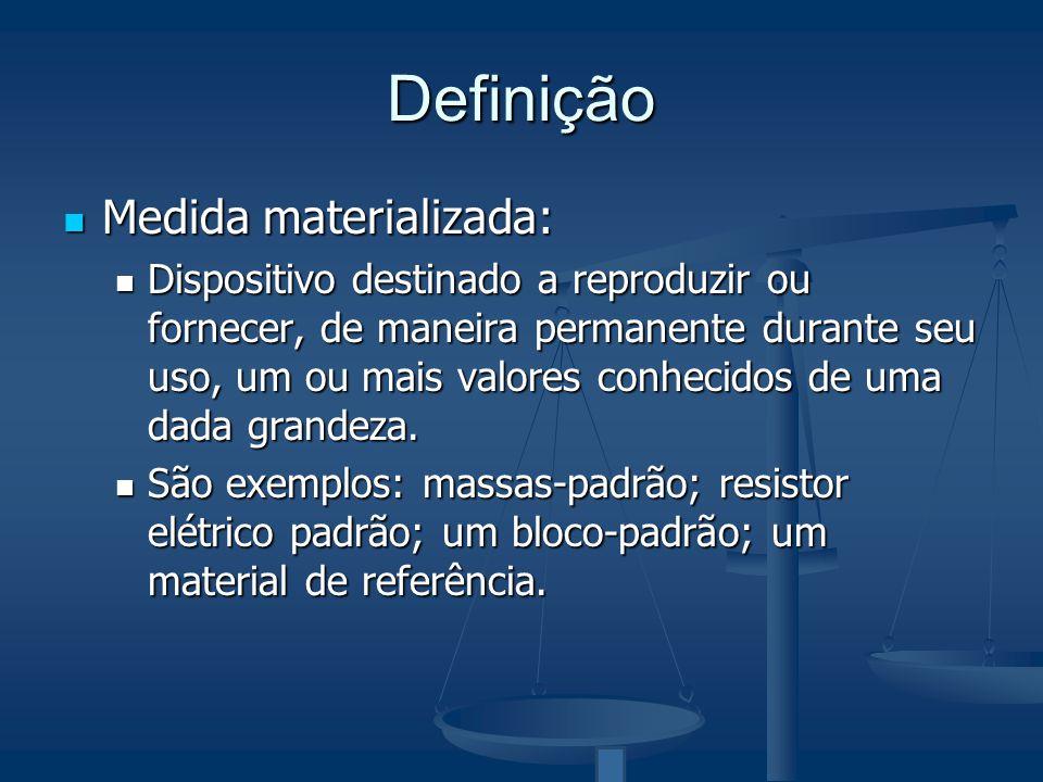 Definição Medida materializada: Medida materializada: Dispositivo destinado a reproduzir ou fornecer, de maneira permanente durante seu uso, um ou mai