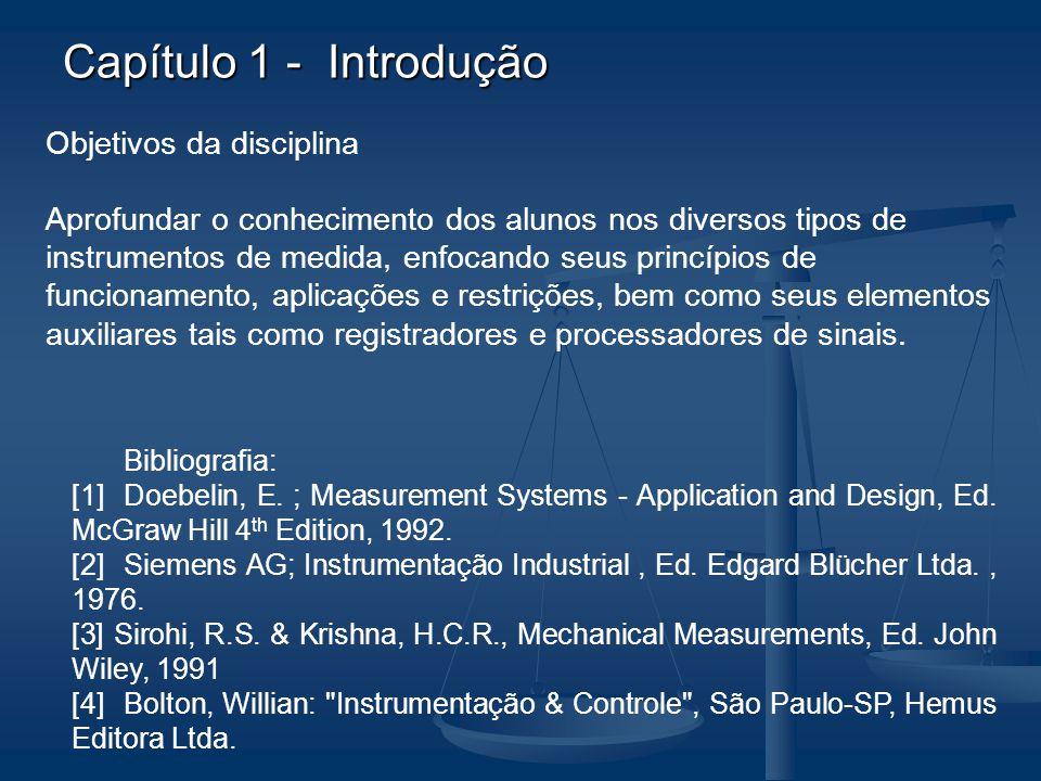 Capítulo 1 - Introdução Objetivos da disciplina Aprofundar o conhecimento dos alunos nos diversos tipos de instrumentos de medida, enfocando seus prin
