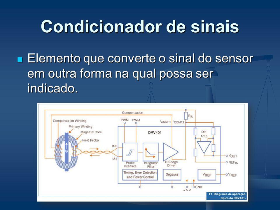Condicionador de sinais Elemento que converte o sinal do sensor em outra forma na qual possa ser indicado. Elemento que converte o sinal do sensor em