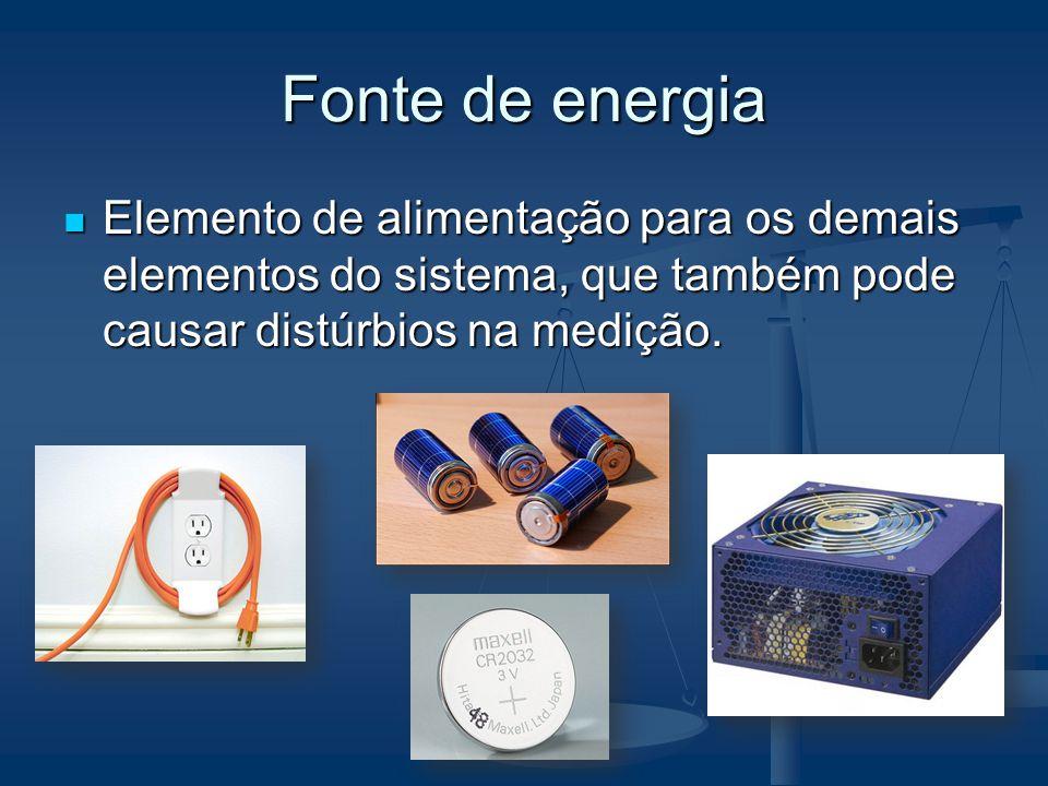 Fonte de energia Elemento de alimentação para os demais elementos do sistema, que também pode causar distúrbios na medição. Elemento de alimentação pa