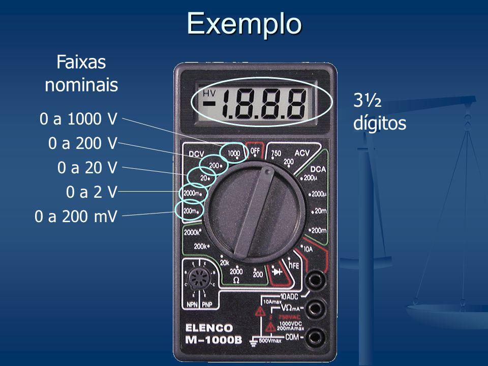 Exemplo 3½ dígitos 0 a 1000 V 0 a 200 V 0 a 20 V 0 a 2 V 0 a 200 mV Faixas nominais