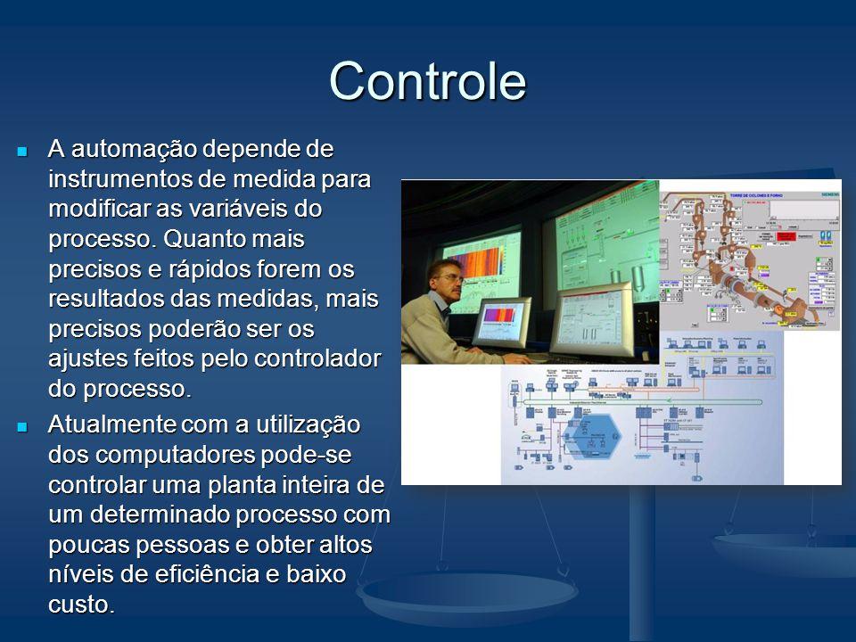 Controle A automação depende de instrumentos de medida para modificar as variáveis do processo. Quanto mais precisos e rápidos forem os resultados das