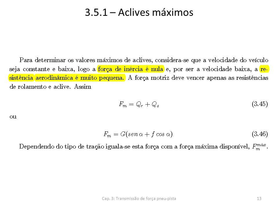 3.5.1 – Aclives máximos Cap. 3: Transmissão de força pneu-pista13