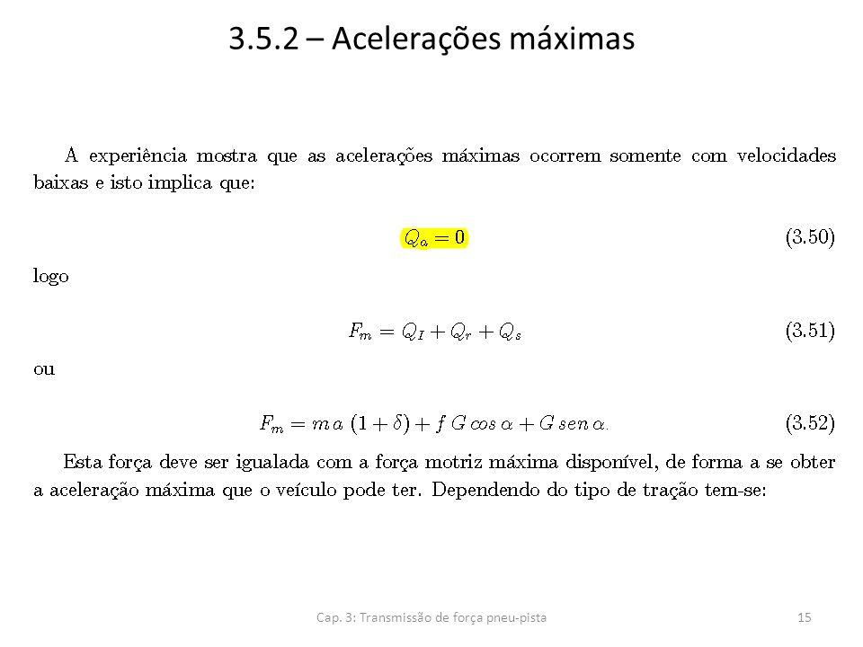 3.5.2 – Acelerações máximas Cap. 3: Transmissão de força pneu-pista15