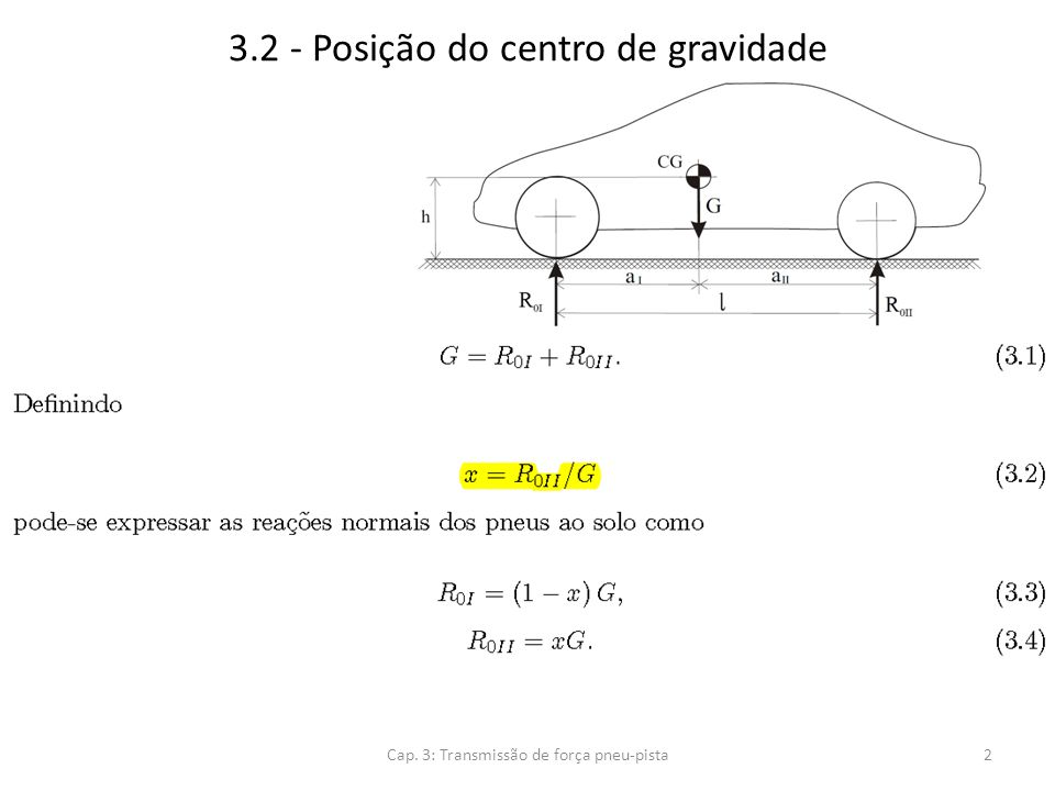 3.2 - Posição do centro de gravidade Cap. 3: Transmissão de força pneu-pista3